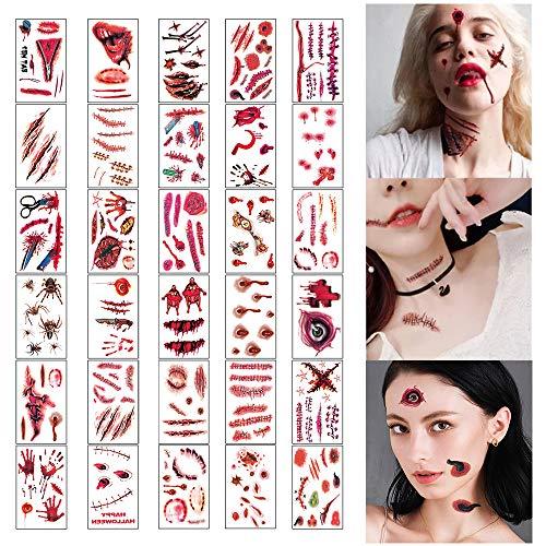 N\ A 30 Piezas de Tatuajes de Halloween, Tatuaje Temporal, Tatuajes de Cicatrices de Halloween, Pegatinas con Pegatinas de Maquillaje Facial, Disfraces de costra Falsa