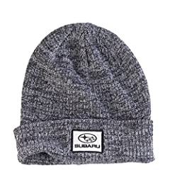 Keep it casual in this cuffed Subaru knit cap. Marbled knit acrylic yarn in marled design Satin stitch patch Black/Gray One size fits most
