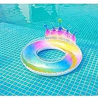 透明なグラデーションカラーのクラウン浮き輪、大人の人魚の虹の脇の下のリング、救命浮き輪、パーティープール用品(Color:B)