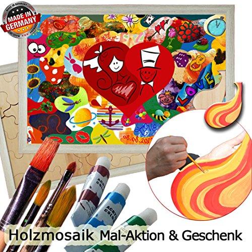 galleryy.net Holzmosaik Klassik zum Bemalen ++ Rahmenfarbe AKAZIE ++ 55x40cm mit ca. 35 Puzzleteilen