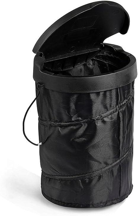 Hcmax Universal Tragbar Auto Müllsäcke Auto Mülleimer Zusammenklappbar Pop Up Mülleimer Müll Kontainer Mit Deckel Schwarz Auto