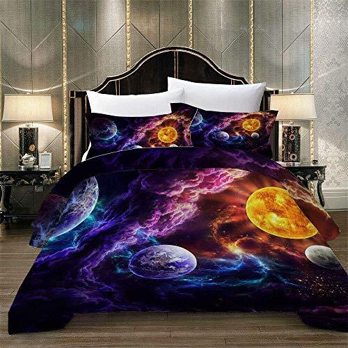 3 Stück 3D Galaxy Bedding Set Outer Space Theme Bettbezug Nebula Universe Bettbezug Sternenhimmel Interstellare Tagesdecke 03_200*200 cm