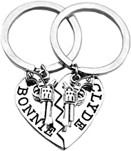 Thelma and Louise Pistol Gun Charm Broken Heart Best Friends Keychain Keyring