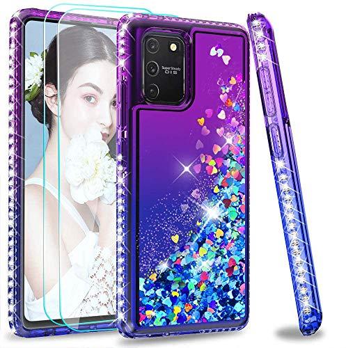 LeYi Funda Samsung Galaxy S10 Lite / A91 Silicona Purpurina Carcasa con [2-Unidades Cristal Vidrio Templado], Transparente Cristal Bumper Gel TPU Fundas Case Cover para Movil S10 Lite Morado/Azul