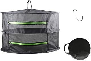 HYDGOOHO 2 Layer 2ft Herb Drying Rack Net Dryer Black Mesh with Green Zippers Hydroponics,Bonus Hook (2Tier...