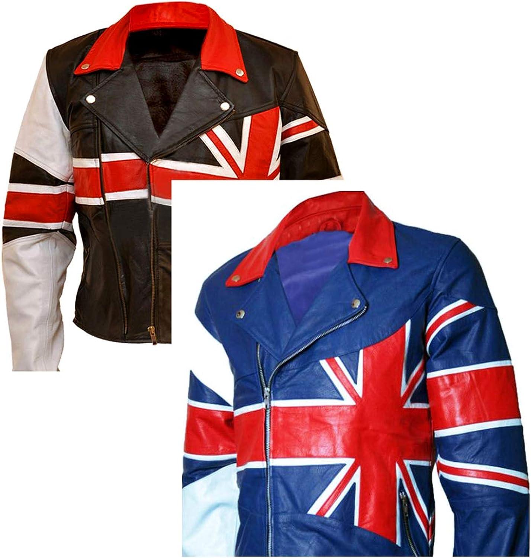 Western Fashions Union Jack British Flag Genuine Sheepskin Leather Black & Red Jacket  Bristish Flag Logo