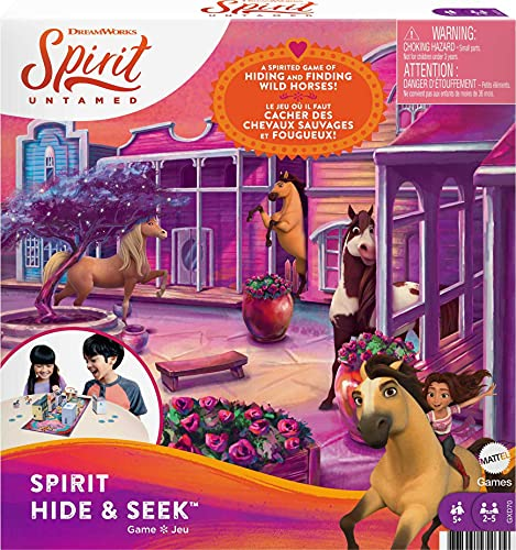 Mattel Spirit Untamed Hide & Seek Kids Game, Hide-and-Seek Board Game with Mini Horses & Buildings for 2, 3, 4 or 5 Players Ages 5 Years Old & Up