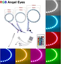 Qiuko 4pcs 90mm LED Angel Eyes Ring Multi-Color RGB 16 Color Changing Flashing 5050 COB Angel Eye Halo Ring Light Kit Plus Remote Control For BMW E30 Non-Projector E38 E36 E39 3 5 7 Series