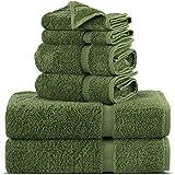 Towel Bazaar Premium Turkish Cotton Super Soft and Absorbent Towels (6-Piece Towel Set, Moss Green)