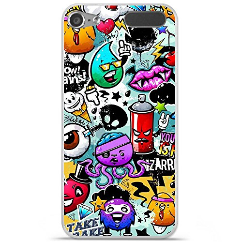 Housse Coque Etui Apple iPod Touch 5 / 6 silicone gel Protection arrière - Graffiti 2
