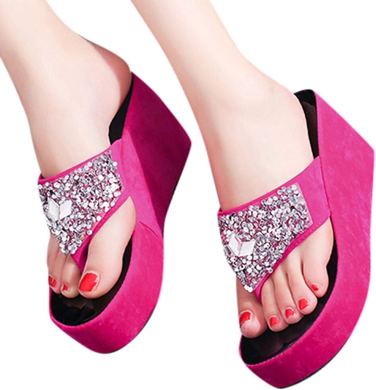 LA GUAPA Flip Flops for Women Bling Comfort Thong Style Summer Sandals Wedge Sandals for Outdoor