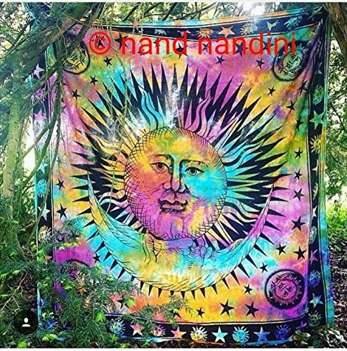 NANDNANDINI - NEW Traditional indian Sun Tapestry Best tapestry for YOGA Lover Wall Decor Throw Cotton Bed Cover Bohemian Bed Decor Bed Spread Ethnic Home Decor Dorm Tapestry
