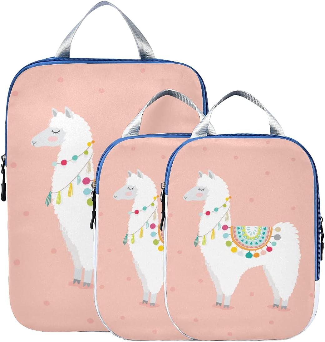 Packing Cube Cute Llama Cartoon F Popular overseas Lama Baby 2021 autumn and winter new Fashion Bags