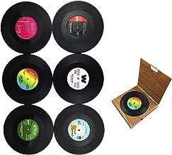 Dooppa, 6 posavasos retro de disco de vinilo con estilo de música clásica