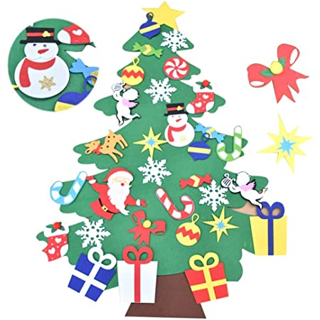 Bodosac 3,2FT Felt Christmas Tree Set con Ornamenti 28 Pz DIY Staccabile Decorazione da Parete per Bambini Decorazione di Natale