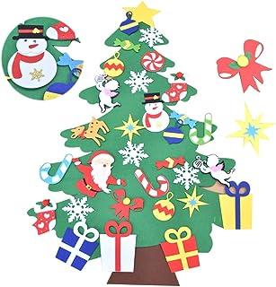 Awtlife Juego de árboles de Navidad de Fieltro de 3.5 pies con Adornos 32 Piezas de Bricolaje decoración de Pared Desmontable para niños decoración de Navidad