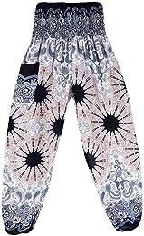 ❤ Hommes Femmes thaïlandais Harem Pantalons Boho F