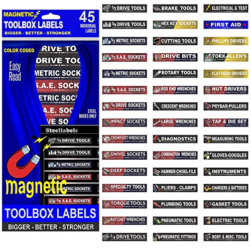 "Ultimate Magnetic Tool Box Organizer Labels - Blue Edition organize boxes, drawers & cabinets ""Quick & Easy"", fits all brands of 'Steel' tool chest Craftsman, Snap-on, Mac, Matco & Cornwell"