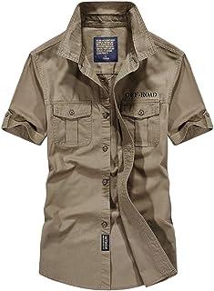 Camisa para Hombre Moda Hermosa Camisa Militar de Manga Corta para Hombre Camisas Casual para Hombre Chaquetas para Hombre...
