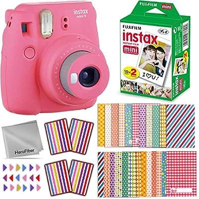 FujiFilm Instax Mini 9 Instant Camera (Flamingo Pink) + Fuji INSTAX Film (20 Sheets) + Accessories Kit Includes: 60 Colorful Sticker Frames, Corner Stickers, HeroFiber Cloth + Accessory Bundle from HeroFiber