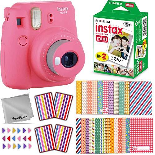 FujiFilm Instax Mini 9 Instant Camera (Flamingo Pink) + Fuji INSTAX Film (20 Sheets) + Accessories Kit Includes: 60 Colorful Sticker Frames, Corner Stickers, HeroFiber Cloth + Accessory Bundle