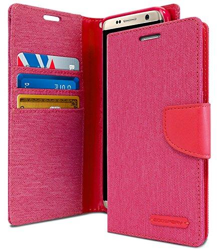 Goospery Canvas Wallet für Samsung Galaxy S8 Plus Hülle (2017) Denim Stand Flip Cover (Pink) S8P-CAN-PNK