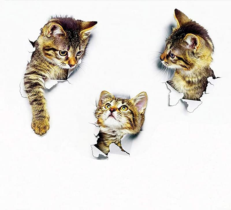 3pcs 9 8x6 5in 3D Wall Decals Stickers Vivid Decors Murals Cat For Room Home Removable Wall Art Decals Wall For Kids Rooms DIY Home Decoration