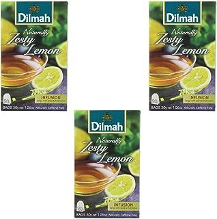 Dilmah Naturally Zesty Lemon 20 Tea Bags X 3 Pack - Herbal Tea Caffeine Free - Pure Ceylon Dilmah Tea Box