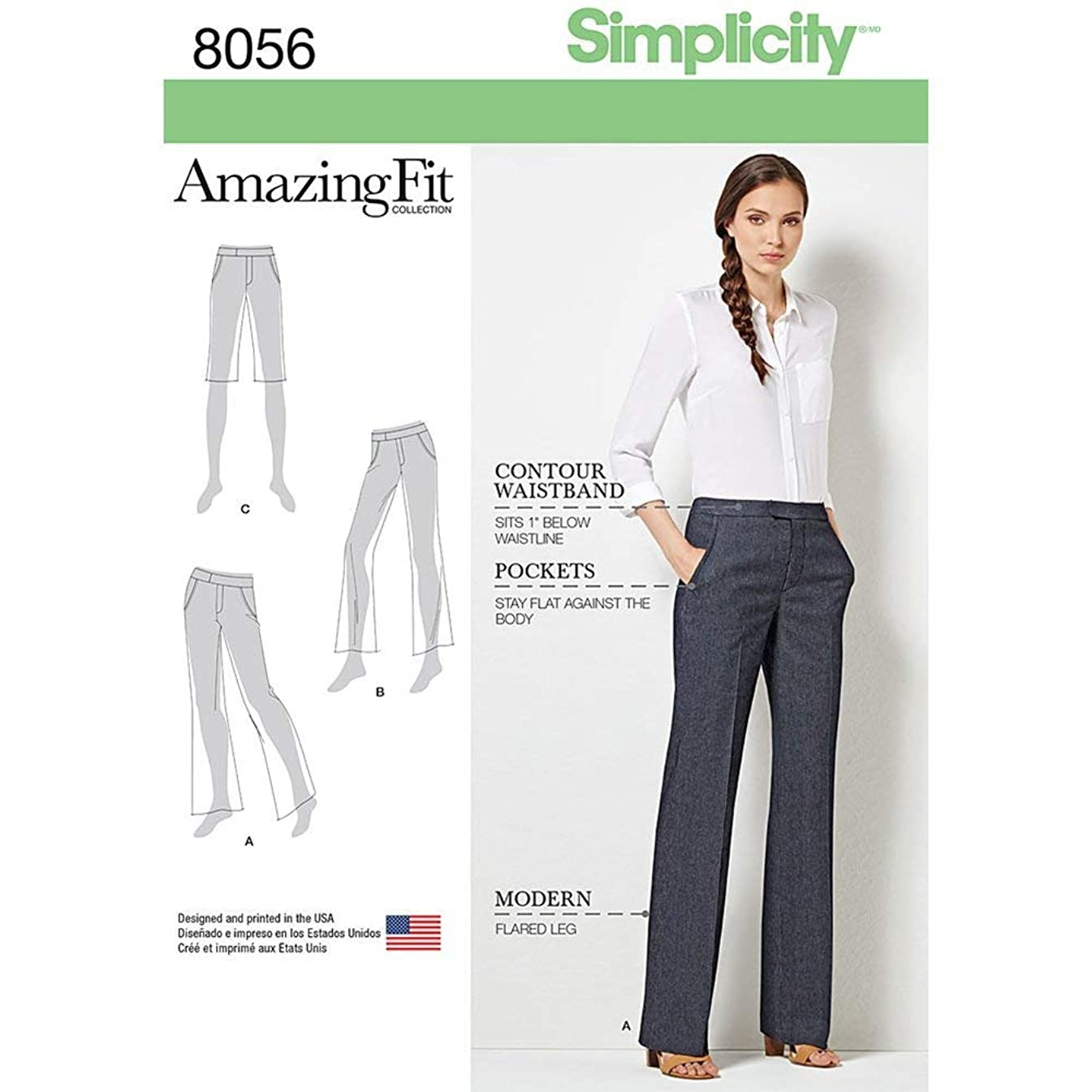 Simplicity 8056 Women's Flared Pants and Shorts Sewing Patterns, Sizes 10-18
