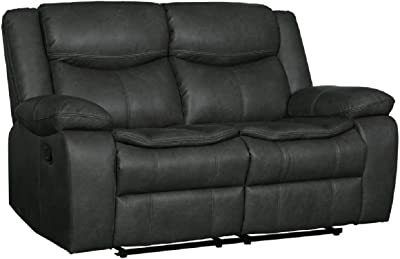 Blackjack Furniture Marsden Collection Modern Leather Air Living Room Reclining, Loveseat, Gray