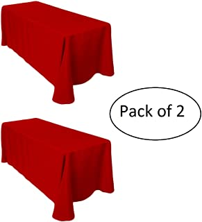 LinenTablecloth 60 x 102-Inch Rectangular Polyester Tablecloth Red (Pack of 2 Tablecloths)