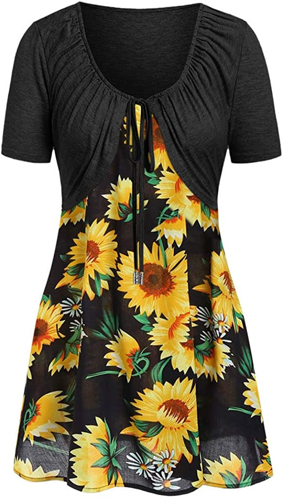 NREALY Blusa Womens Knot Bandage Top Sunflower Print Vest Shirt Tank Blouse Tunic Suit