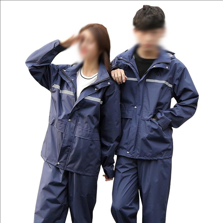 レインコート レインポンチョ レインスーツ レインコートの雨のパンツのスーツは、ダブルパット防水防風性大人の分割ハイキング電気オートバイのレインコート(黒/紺、M/L/XL/XXL/XXXL/XXXXL) ZHANGQIANG (色 : 青, サイズ さいず : XXXXL)