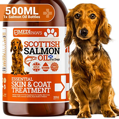 Medipaws Scottish Pure Salmon Oil For Dogs, Cats & Pets | 100% Pure Premium Food Grade | Natural Fish Supplement | Omega 3-6-9 | Promotes Healthy Skin & Coat, Joint & Overall Health | Large 500ml