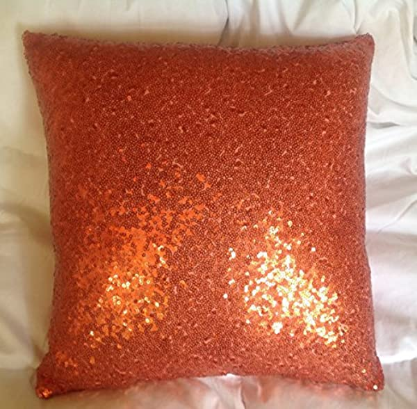 ShinyBeauty Sequin Pillow 18x18 Inch Orange Sequin Throw Pillow Case Sequin Cushion Covers Lovely Home Decoration Orange