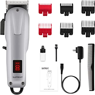 Cordless Hair Clippers for Men SUPRENT, Professional Hair Cutting Kit with 2000mAh Lithium Ion, Stainless steel Blade, Hair Trimmer with Lock-In Length (Silver)