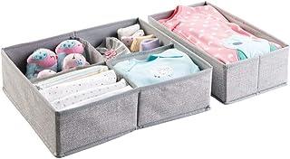 comprar comparacion mDesign Juego de 2 cajas organizadoras de tela (5 compartimentos) – Preciosos organizadores para cajones y cómodas – Cesta...
