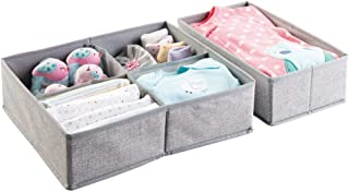 mDesign Soft Fabric Dresser Drawer and Closet Storage Organizer Set for Child/Kids Room, Nursery, Playroom - 2 Pieces, 5 Compartments - Textured Print - Gray