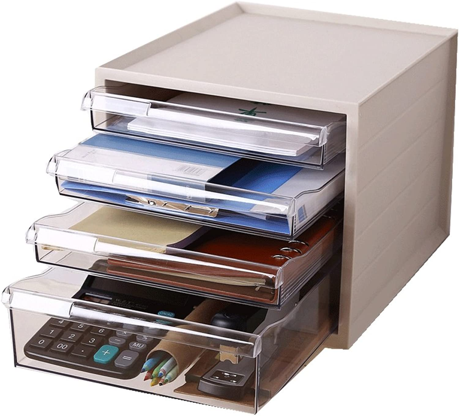 Drawer Set Desk Organiser Freestanding Bookcase with Label and 4 Closed Drawers for Home Office Supplies(27.5  33.5  25cm)