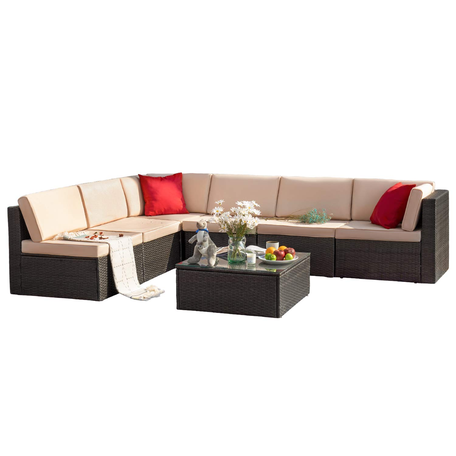 Tuoze 7 Pieces Patio Furniture Sectional Outdoor All Weather PE Rattan Wicker Lawn Conversation Cushioned Sofa Set with Glass Coffee Table (Beige)