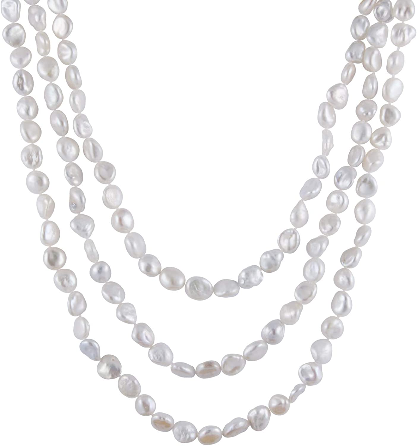 Handpicked A Quality 9-10mm Keshi Cultured Pearl Strand Endless 72