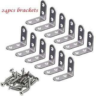 Corner Brace 24 Pieces Stainless Steel L Bracket 40mm x 40mm Joint Right Angle Bracket Fastener