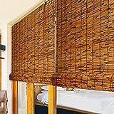 Persianas de Bambú Decoración del Hogar,Reed Cortina Enrollable Opacas,Cortina de Césped de Partición Interior y Exterior,Estores de Caña Impermeable,Filtro De Luz,50-140cm Ancho (71x160cm/28x63in)