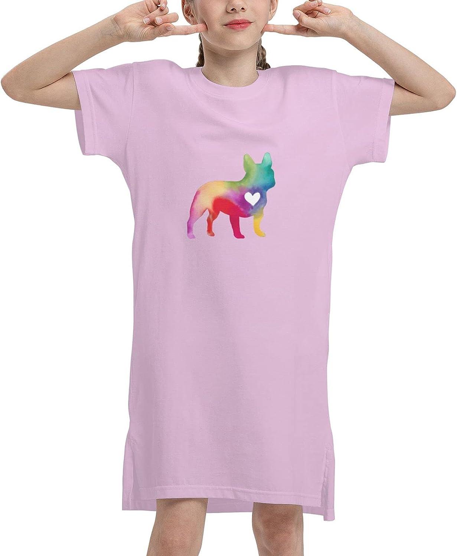 WAMEI French Bulldog Summer Girls Dress Casual Cotton Sleeveless Skirt Dresses for Girls Kids 7-12 Years