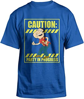 Family Guy Quagmire Caution Party in Progress Adult Royal Blue T-Shirt