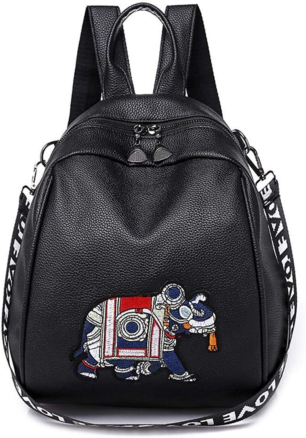 Sxuefang Women Leather Backpack Pu Leather Black and White National Wind Bag Animal Embroidery Fashion Backpack 35x15x23cm