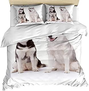 3 Piece Bedding Set Comforter/Quilt Cover Set California King, Furry Arctic Doggies Husky Whelp Pedigree Pet Happy Siberian Mammal, Bedroom Duvet Cover Set with 2 Pillow Shams for Kids/Teens/Adults