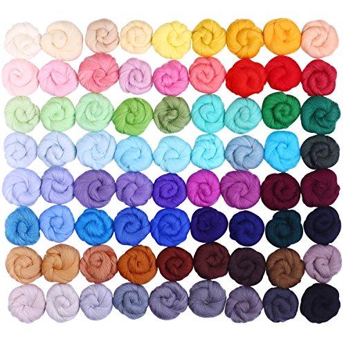 Wool Roving 72 Colors Needle Felting Wool
