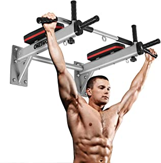ONETWOFIT Wall Mounted Pull Up Bar Chin Up Exercise Bar Gym Dip Station Home Full Body Trainer with Punching Bag Eyelet for Boxing Power Ropes