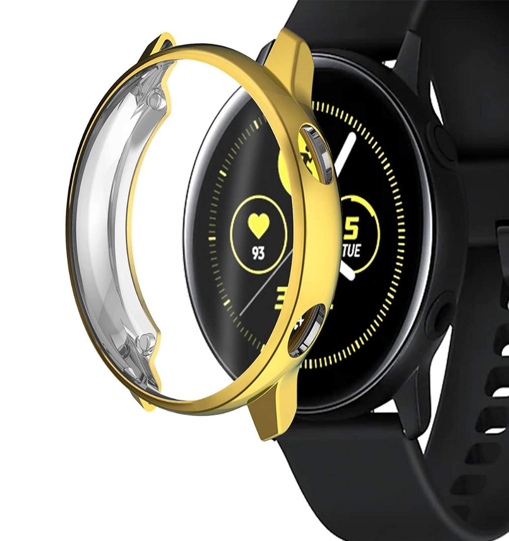 Maxku Galaxy Watch Active 金属フレームステンレス 保護ケース アンチスクラッチ メタルフレーム 保護カバー プロテクターシールド 全3色 (ゴールド)